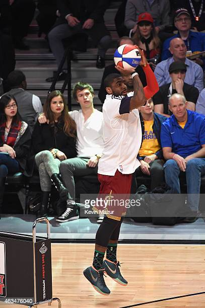 Kyrie Irving of the Cleveland Cavaliers shoots during State Farm AllStar Saturday Night NBA AllStar Weekend 2015 at Barclays Center on February 14...