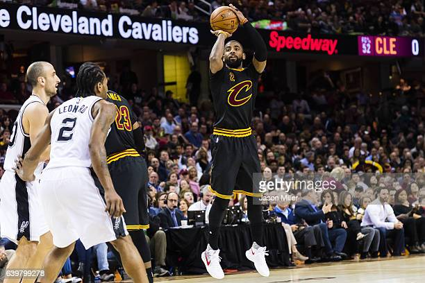 Kyrie Irving of the Cleveland Cavaliers shoots during the first half against the San Antonio Spurs at Quicken Loans Arena on January 21 2017 in...
