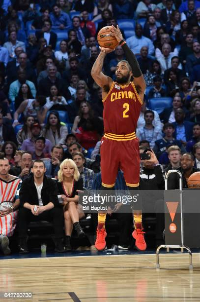 Kyrie Irving of the Cleveland Cavaliers shoots during the JBL ThreePoint Contest on State Farm AllStar Saturday Night as part of the 2017 NBA AllStar...