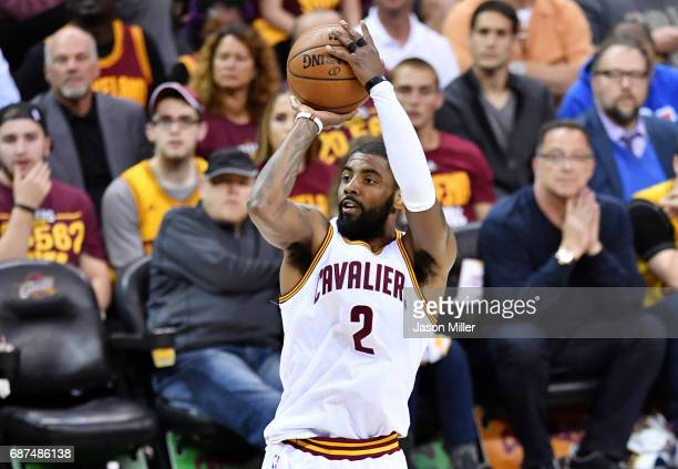 Kyrie Irving of the Cleveland Cavaliers shoots for three in the first quarter against the Boston Celtics during Game Four of the 2017 NBA Eastern...