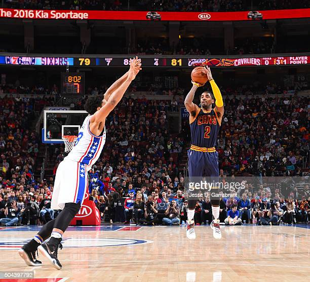 Kyrie Irving of the Cleveland Cavaliers shoots the ball against the Philadelphia 76ers at Wells Fargo Center on January 10 2015 in Philadelphia...