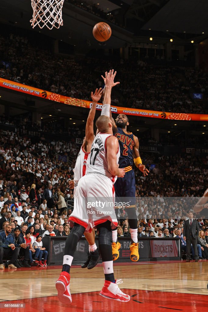 Kyrie Irving #2 of the Cleveland Cavaliers shoots the ball against the Toronto Raptors during Game Three of the Eastern Conference Semifinals of the 2017 NBA Playoffs on April 18, 2017 at the Air Canada Centre in Toronto, Ontario, Canada.