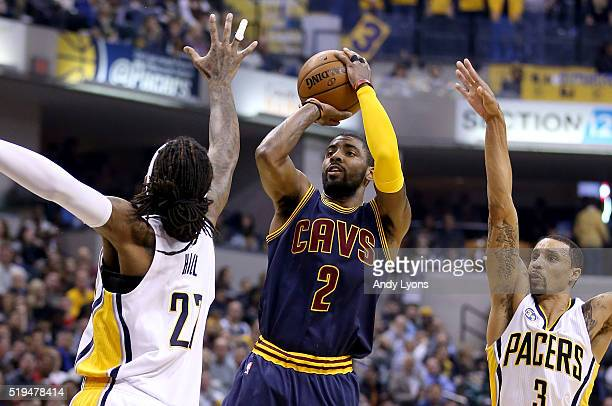 Kyrie Irving of the Cleveland Cavaliers shoots the ball during the game against the Indiana Pacers at Bankers Life Fieldhouse on April 6 2016 in...