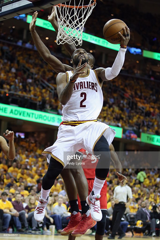 <a gi-track='captionPersonalityLinkClicked' href=/galleries/search?phrase=Kyrie+Irving&family=editorial&specificpeople=6893971 ng-click='$event.stopPropagation()'>Kyrie Irving</a> #2 of the Cleveland Cavaliers shoots the ball during the second half against the Toronto Raptors in game two of the Eastern Conference Finals during the 2016 NBA Playoffs at Quicken Loans Arena on May 19, 2016 in Cleveland, Ohio.