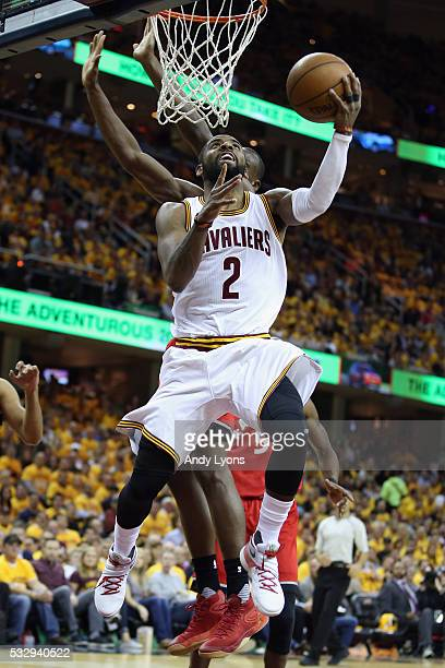 Kyrie Irving of the Cleveland Cavaliers shoots the ball during the second half against the Toronto Raptors in game two of the Eastern Conference...