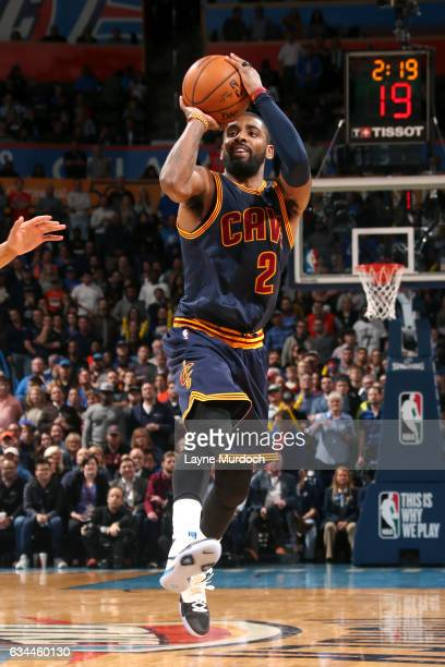 Kyrie Irving of the Cleveland Cavaliers shoots the ball during the game against the Oklahoma City Thunder on February 9 2017 at Chesapeake Energy...