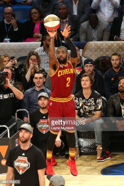 Kyrie Irving of the Cleveland Cavaliers shoots the ball during the JBL ThreePoint Contest during State Farm AllStar Saturday Night as part of the...