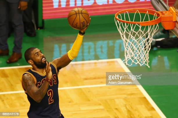 Kyrie Irving of the Cleveland Cavaliers shoots the ball in the first half against the Boston Celtics during Game Two of the 2017 NBA Eastern...