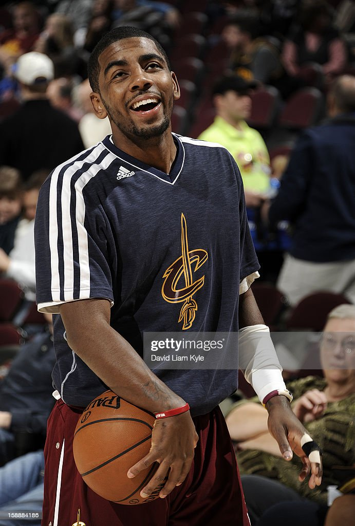 Kyrie Irving #2 of the Cleveland Cavaliers smiles during warm ups prior to the game against the Sacramento Kings at The Quicken Loans Arena on January 2, 2013 in Cleveland, Ohio.