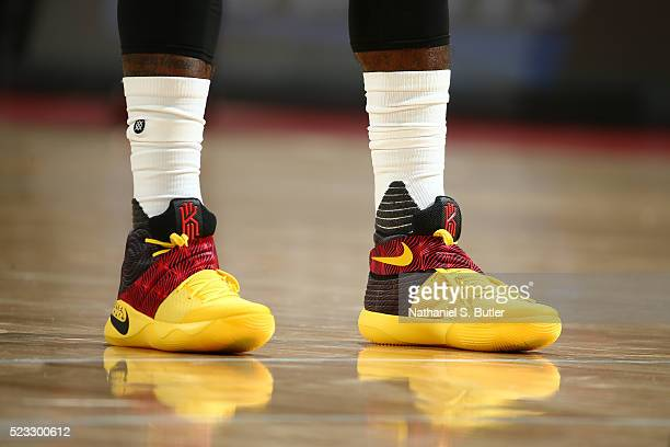 Kyrie Irving of the Cleveland Cavaliers sneakers during Game Three of the Eastern Conference Quarterfinals during the 2016 NBA Playoffs against the...