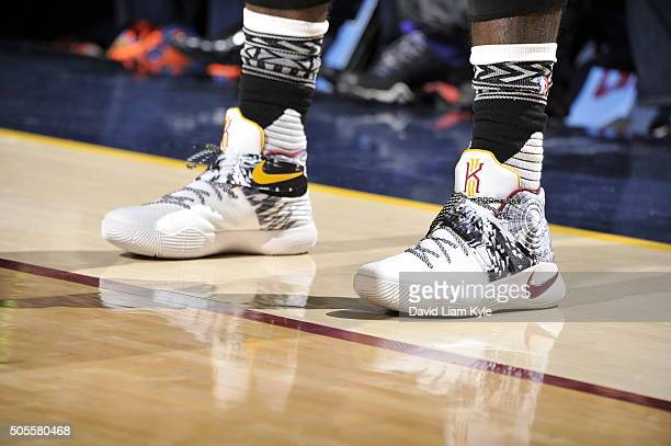 Kyrie Irving of the Cleveland Cavaliers sneakers during the game against the Golden State Warriors on January 18 2016 at Quicken Loans Arena in...