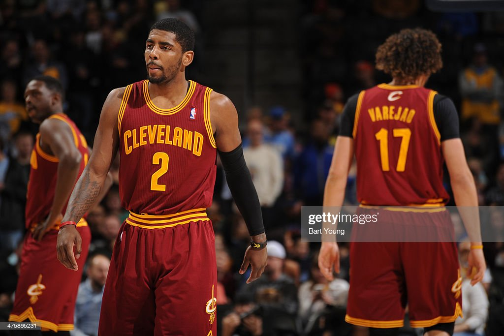<a gi-track='captionPersonalityLinkClicked' href=/galleries/search?phrase=Kyrie+Irving&family=editorial&specificpeople=6893971 ng-click='$event.stopPropagation()'>Kyrie Irving</a> #2 of the Cleveland Cavaliers stands on the court in a game against the Denver Nuggets on January 17, 2014 at the Pepsi Center in Denver, Colorado.