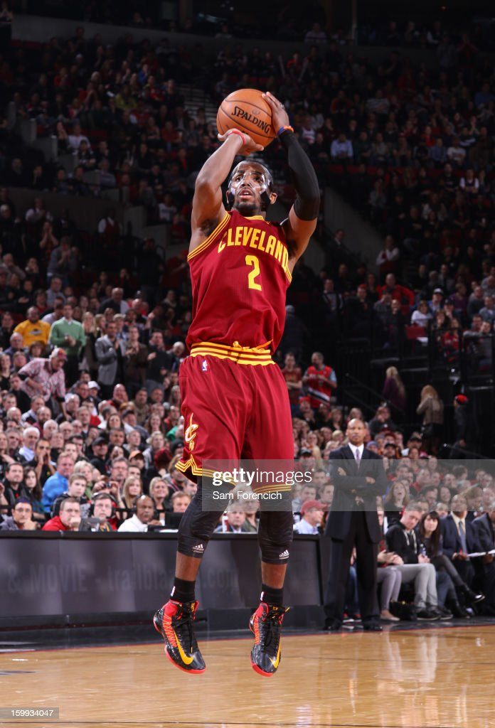 <a gi-track='captionPersonalityLinkClicked' href=/galleries/search?phrase=Kyrie+Irving&family=editorial&specificpeople=6893971 ng-click='$event.stopPropagation()'>Kyrie Irving</a> #2 of the Cleveland Cavaliers takes a shot against the Portland Trail Blazers on January 16, 2013 at the Rose Garden Arena in Portland, Oregon.