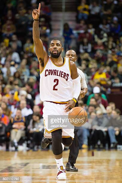 Kyrie Irving of the Cleveland Cavaliers takes the ball down court during the first half against the Philadelphia 76ers at Quicken Loans Arena on...