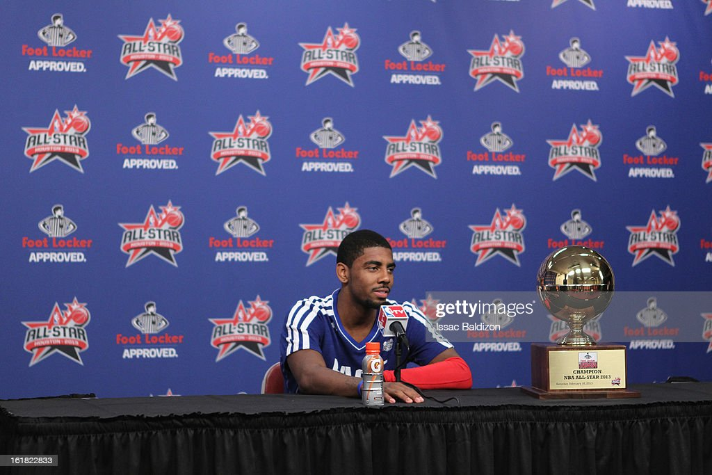 Kyrie Irving of the Cleveland Cavaliers talks to the media after winning the Foot Locker Three-Point Contest on State Farm All-Star Saturday Night during NBA All Star Weekend on February 16, 2013 at the Toyota Center in Houston, Texas.