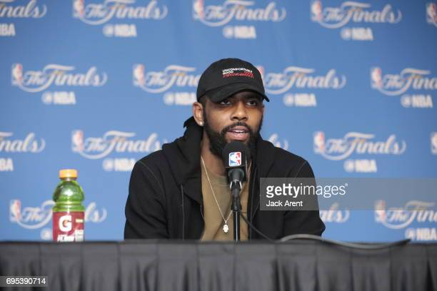 Kyrie Irving of the Cleveland Cavaliers talks to the media after the game against the Golden State Warriors in Game Five of the 2017 NBA Finals on...