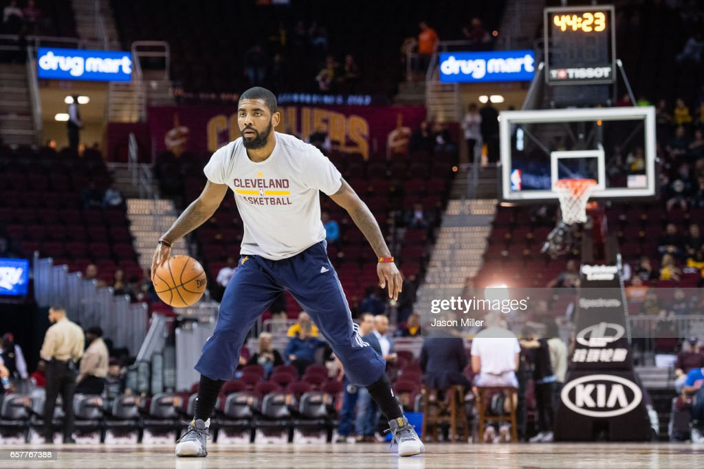 Kyrie Irving #2 of the Cleveland Cavaliers warms up prior to the game against Washington Wizards at Quicken Loans Arena on March 25, 2017 in Cleveland, Ohio.