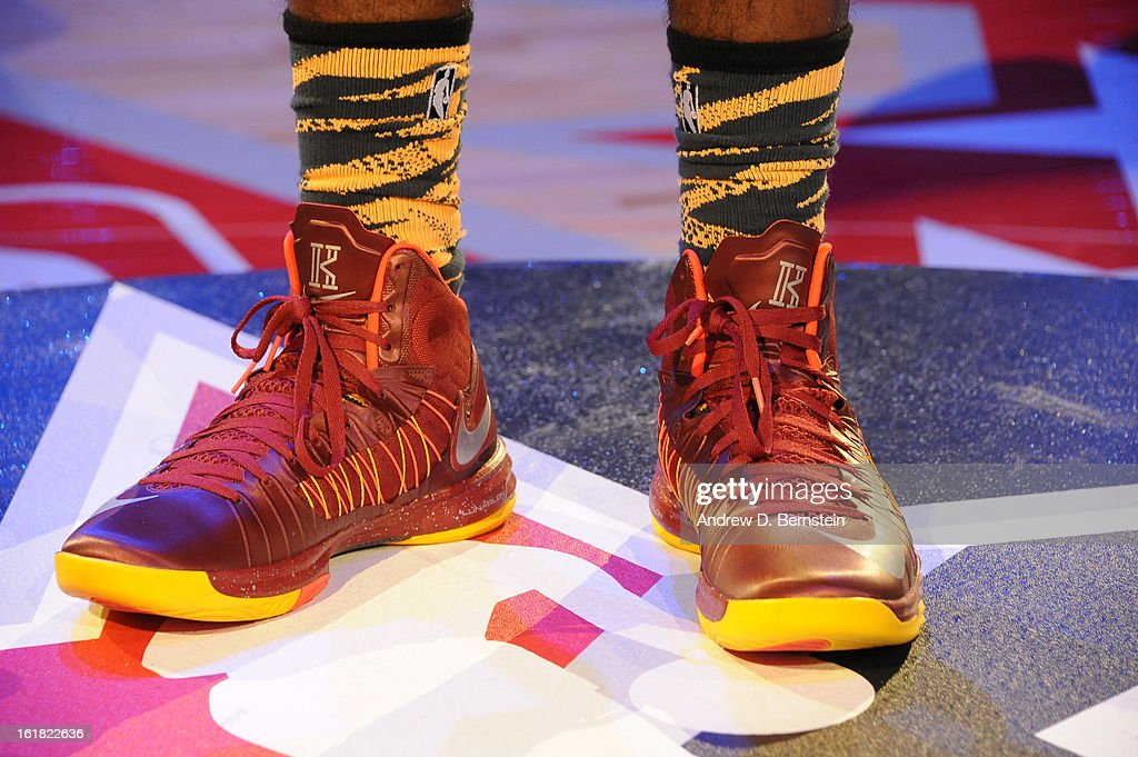 Kyrie Irving #2 of the Cleveland Cavaliers wears camouflage socks during the 2013 Foot Locker Three-Point Contest on State Farm All-Star Saturday Night as part of 2013 NBA All-Star Weekend on February 16, 2013 at Toyota Center in Houston, Texas.