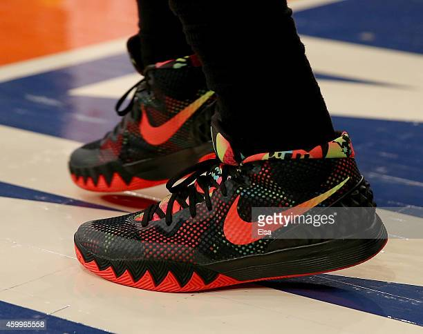 Kyrie Irving of the Cleveland Cavaliers wore his signature shoe during the game against the New York Knicks at Madison Square Garden on November 30...