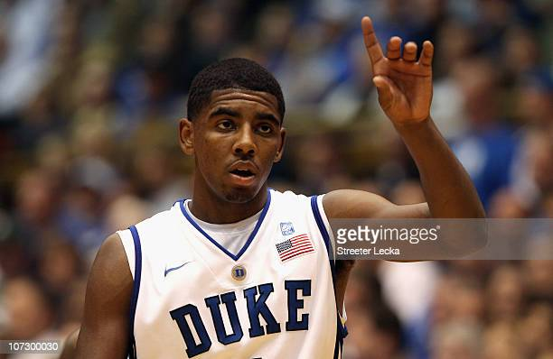 Kyrie Irving of the Duke Blue Devils watches on during their game against the Michigan State Spartans at Cameron Indoor Stadium on December 1 2010 in...