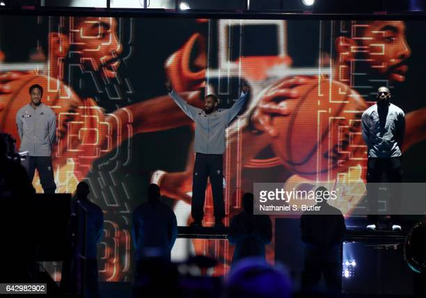 Kyrie Irving of the Eastern Conference AllStars intro during the NBA AllStar Game as part of the 2017 NBA All Star Weekend on February 19 2017 at the...