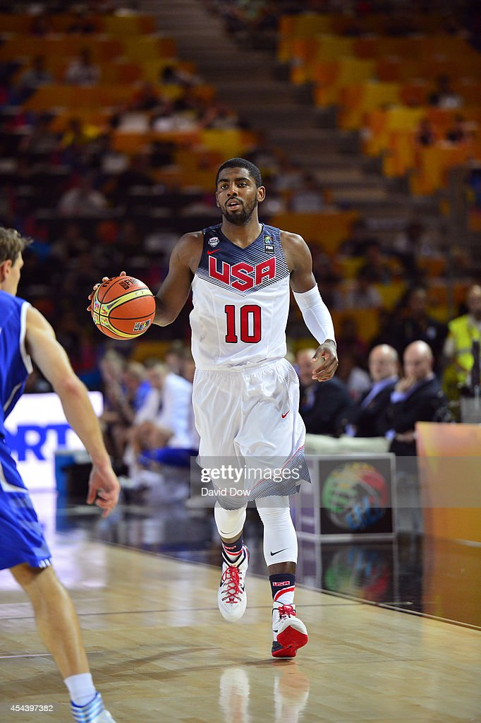 <a gi-track='captionPersonalityLinkClicked' href=/galleries/search?phrase=Kyrie+Irving&family=editorial&specificpeople=6893971 ng-click='$event.stopPropagation()'>Kyrie Irving</a> #10 of the USA Basketball Men's National Team dribbles down the basketball against the Finland Nation Basketball Team during the FIBA 2014 World Cup Tournament at the Bilbao Exhibition Center on August 30, 2014 in Bilbao, Spain.