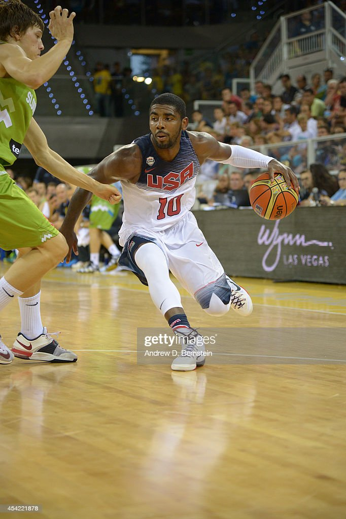 Kyrie Irving of the USA Basketball Men's National Team drives in the game against the Slovenia Basketball Men's National Team at Gran Canaria Arena...