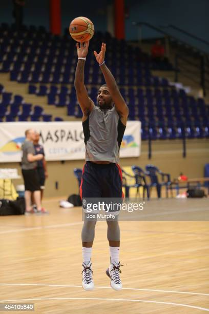 Kyrie Irving of the USA Basketball Men's National Team shoots the ball during practice on August 24 2014 at Pabellon de El Tablero Practice Facility...