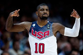 Kyrie Irving of the USA celebrates scoring during the 2014 FIBA World Basketball Championship final match between USA and Serbia at Palacio de los...