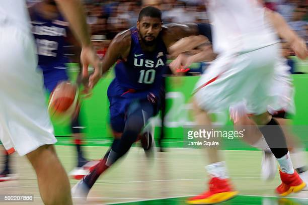 Kyrie Irving of United States drives to the basket against Spain during the Men's Semifinal match on Day 14 of the Rio 2016 Olympic Games at Carioca...