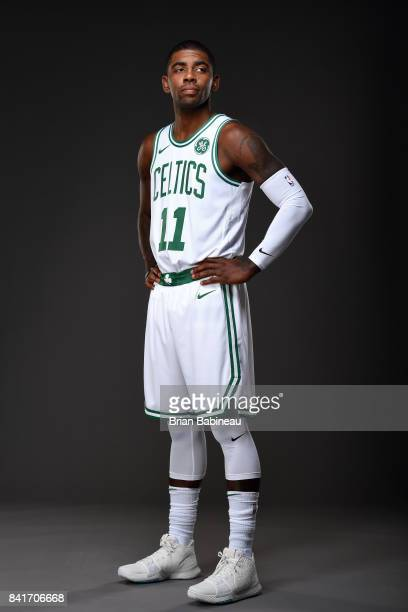 Kyrie Irving poses for a portrait after getting introduced as Boston Celtics on September 1 2017 at the TD Garden in Boston Massachusetts NOTE TO...