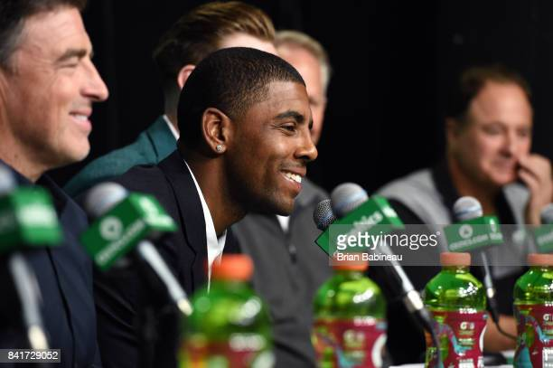 Kyrie Irving talks to the media as he gets introduced as Boston Celtics on September 1 2017 at the TD Garden in Boston Massachusetts NOTE TO USER...