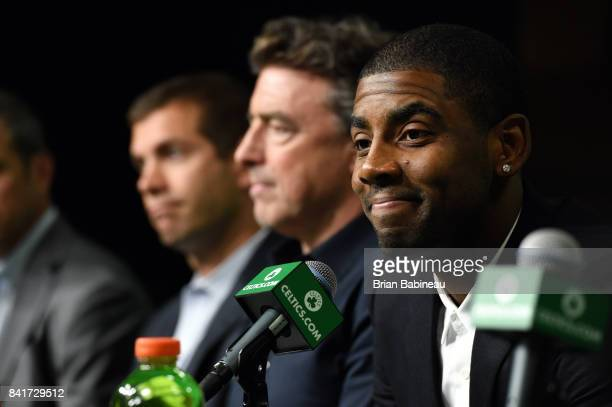 Kyrie Irving talks with the media as he gets introduced as Boston Celtics on September 1 2017 at the TD Garden in Boston Massachusetts NOTE TO USER...