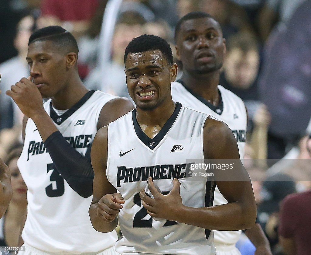 Kyron Cartwright #24, <a gi-track='captionPersonalityLinkClicked' href=/galleries/search?phrase=Kris+Dunn&family=editorial&specificpeople=7887137 ng-click='$event.stopPropagation()'>Kris Dunn</a> #3, and Ben Bentil #0 of the Providence Friars react against the Villanova Wildcats in the first half on February 6, 2016, at the Dunkin' Donuts Center in Providence, Rhode Island.