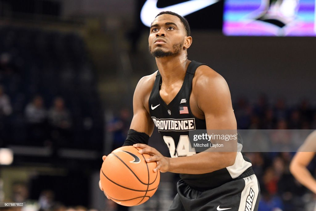 Kyron Cartwright #24 of the Providence Friars takes a foul shot during a college basketball game against the DePaul Blue Demons at Wintrust Arena on January 12, 2018 in Chicago, Illinois. The Friars won 71-64.