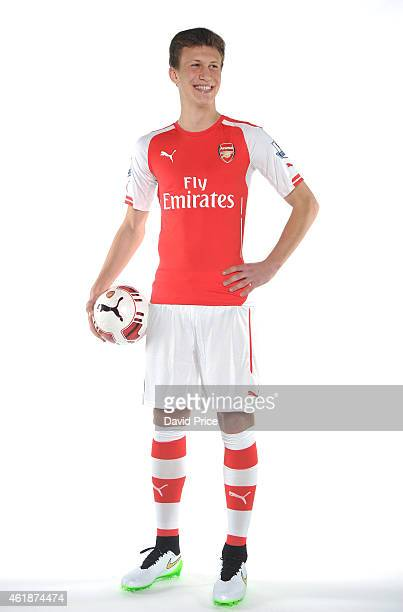 Kystian Bielik of Arsenal attends a photoshoot at London Colney on January 19 2015 in St Albans England