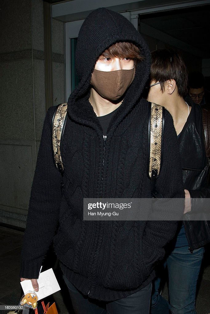 Kyuhyun of boy band Super Junior M is seen upon arrival at Incheon International Airport on February 18, 2013 in Incheon, South Korea.