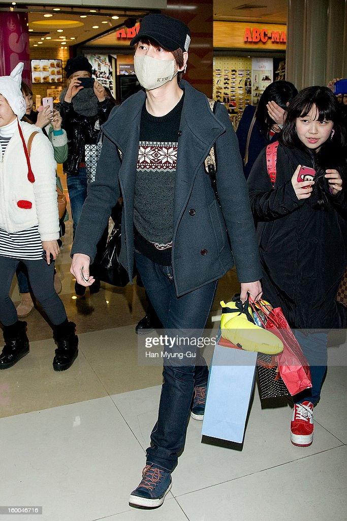 Kyuhyun of South Korean boy band Super Junior KRY is seen at Gimpo International Airport on January 25, 2013 in Seoul, South Korea.