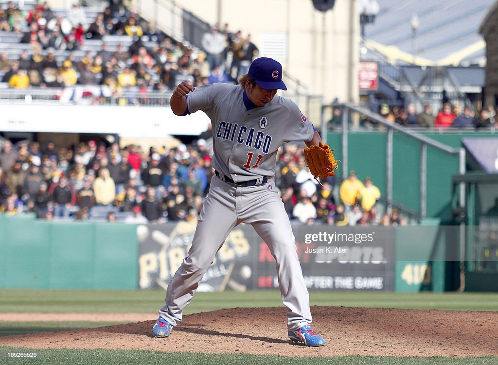 <a gi-track='captionPersonalityLinkClicked' href=/galleries/search?phrase=Kyuji+Fujikawa&family=editorial&specificpeople=807185 ng-click='$event.stopPropagation()'>Kyuji Fujikawa</a> #11 of the Chicago Cubs celebrates after closing out the game against the Pittsburgh Pirates during the opening day game on April 1, 2013 at PNC Park in Pittsburgh, Pennsylvania. The Cubs defeated the Pirates 3-1.