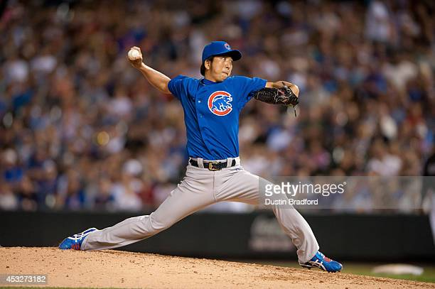 Kyuji Fujikawa of the Chicago Cubs makes a relief appearance in the sixth inning of a game against the Colorado Rockies at Coors Field on August 6...