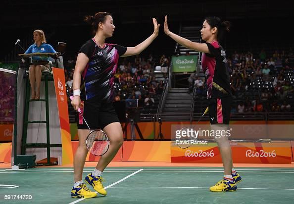 Kyung Eun Jung and Seung Chan Shin ok Republic of Korea celebrates winning a point against Yu Yang and Yuanting Tang of China during the Women's...