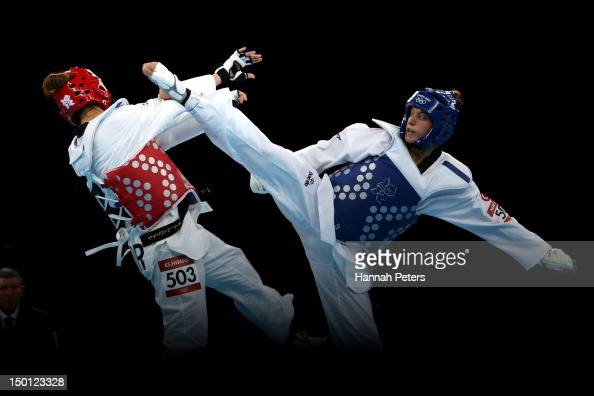 Kyung Seon Hwang of Korea competes against Nur Tatar of Turkey in the Women's 67kg Taekwondo Gold Medal Final on Day 14 of the London 2012 Olympic...