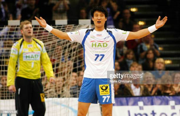 Kyung Shin Yoon of Hamburg celebrates after scoring during the Bundesliga game between HSV Handball and MT Melsungen at the Color Line Arena on...