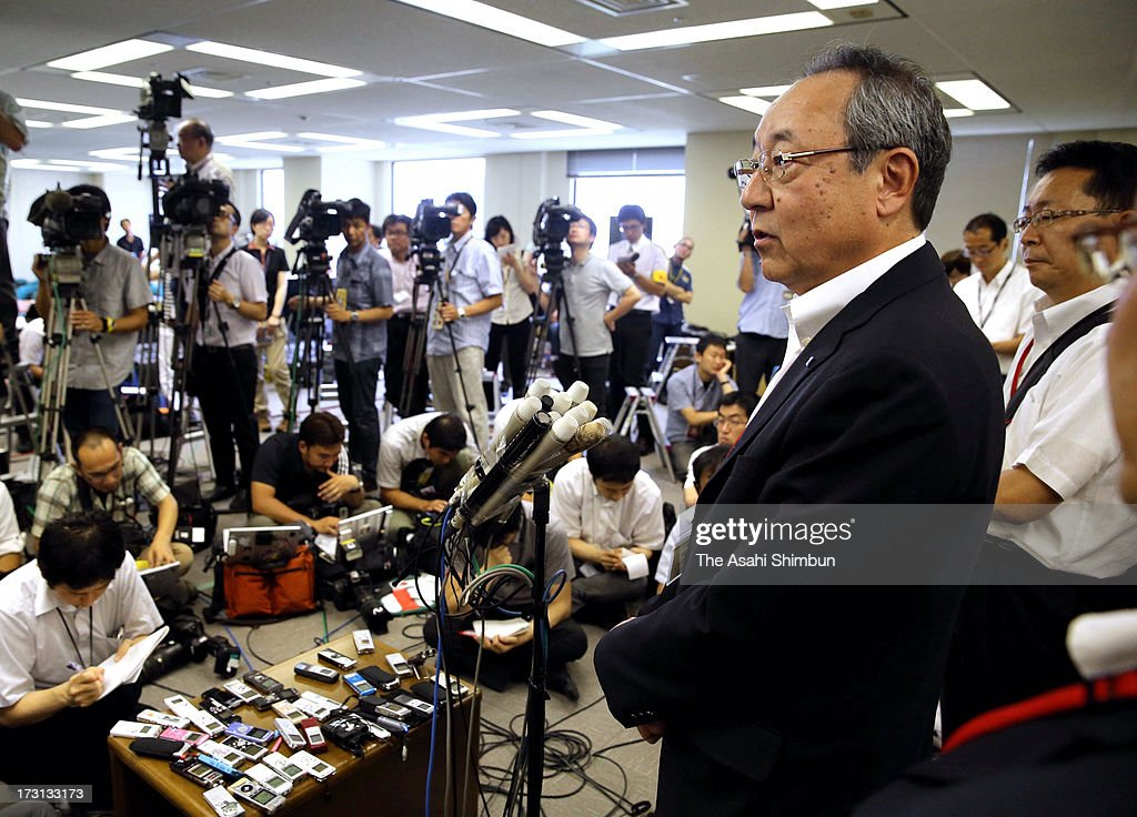Kyushu Electric Power Co vice president Toru Yoshizako speaks to media reporters after applying for safety examination of their Sendai Nuclear Power Plant eyeing for the restart at the Nuclear Regulation Authority on July 8, 2013 in Tokyo, Japan. Four utilities of Hokkaido, Kansai, Shikoku and Kyushu apply for the safety examinations of ten reactors of five nuclear power plants, on the day tougher standards took effect to prevent a recurrence of the 2011 Fukushima nuclear crisis.