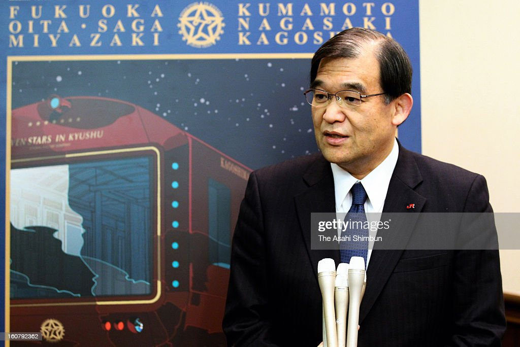 JR Kyushu' president Koji Karaike speks on their luxury train 'Nanatsuboshi' during a press preview at Hitachi Ltd Kasado Factory on February 5, 2013 in Kudamatsu, Yamaguchi, Japan. The coach, will be used as 'Deluxe Suite' carriage, will cost 1.1million Japanese yen (approximately 11,710 U.S. Dollars) for 3 nights travel for two people. The train will be in service in October 2013.