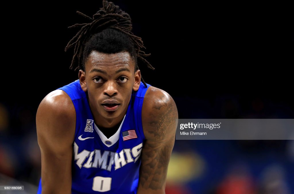 Kyvon Davenport #0 of the Memphis Tigers looks on during a semifinal game of the 2018 AAC Basketball Championship against the Cincinnati Bearcats at Amway Center on March 10, 2018 in Orlando, Florida.