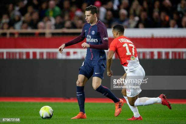 l Julian Draxler of Paris Saint Germain Youri Tielemans of AS Monaco during the French League 1 match between AS Monaco v Paris Saint Germain at the...