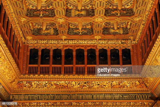 La Aljaferia Throne Room Ceiling of Throne Room Zaragoza Aljaferia Palace Cortes de AragÑn Autonomous parliament Saragossa Aragon Spain