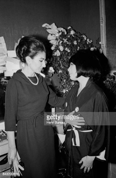 La Callas congratulates Juliette Gréco after her concert at the Olympia music hall Paris 1967