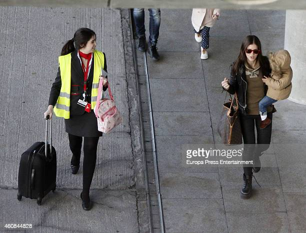 La China Suarez and her daughter are seen on December 23 2014 in Madrid Spain